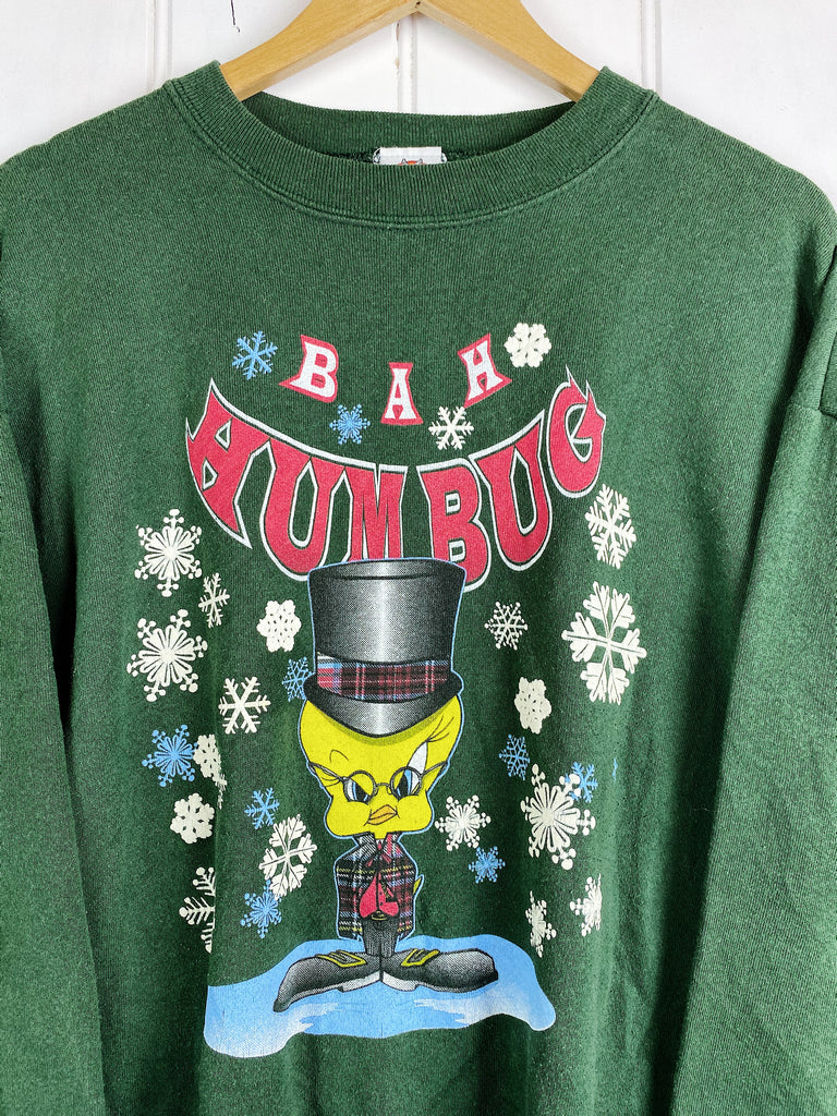 Vintage Cartoon - Humbug Tweety Green Sweatshirt - XLarge