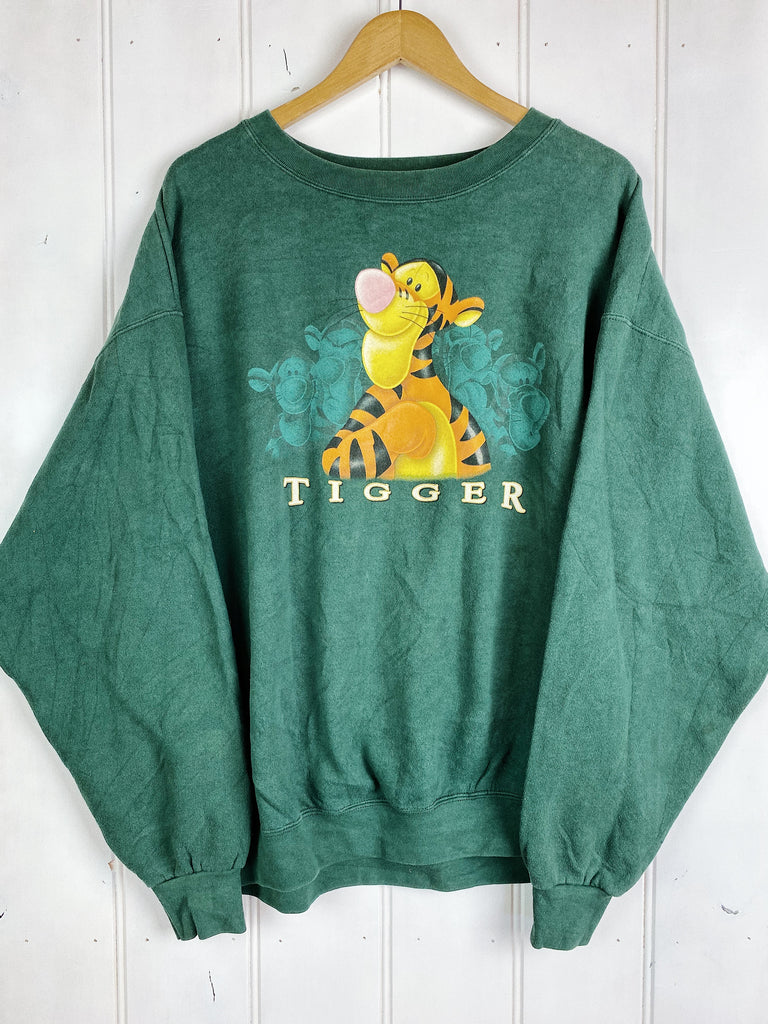 Vintage Cartoon - Proud Tigger Green Sweatshirt - 2XLarge