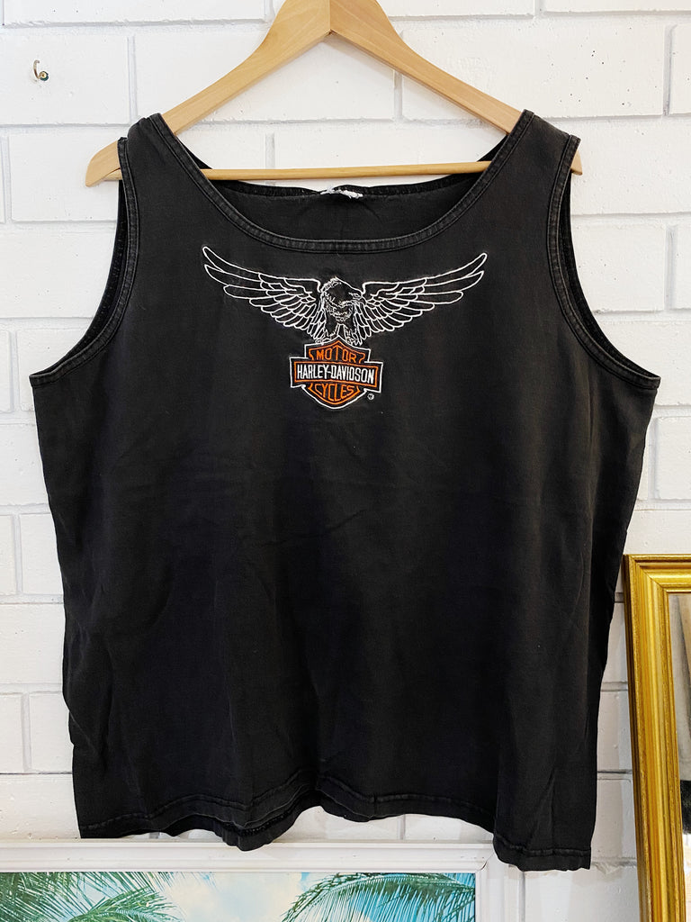 Vintage Harley - Embroidered Eagle Faded Black Single - Small