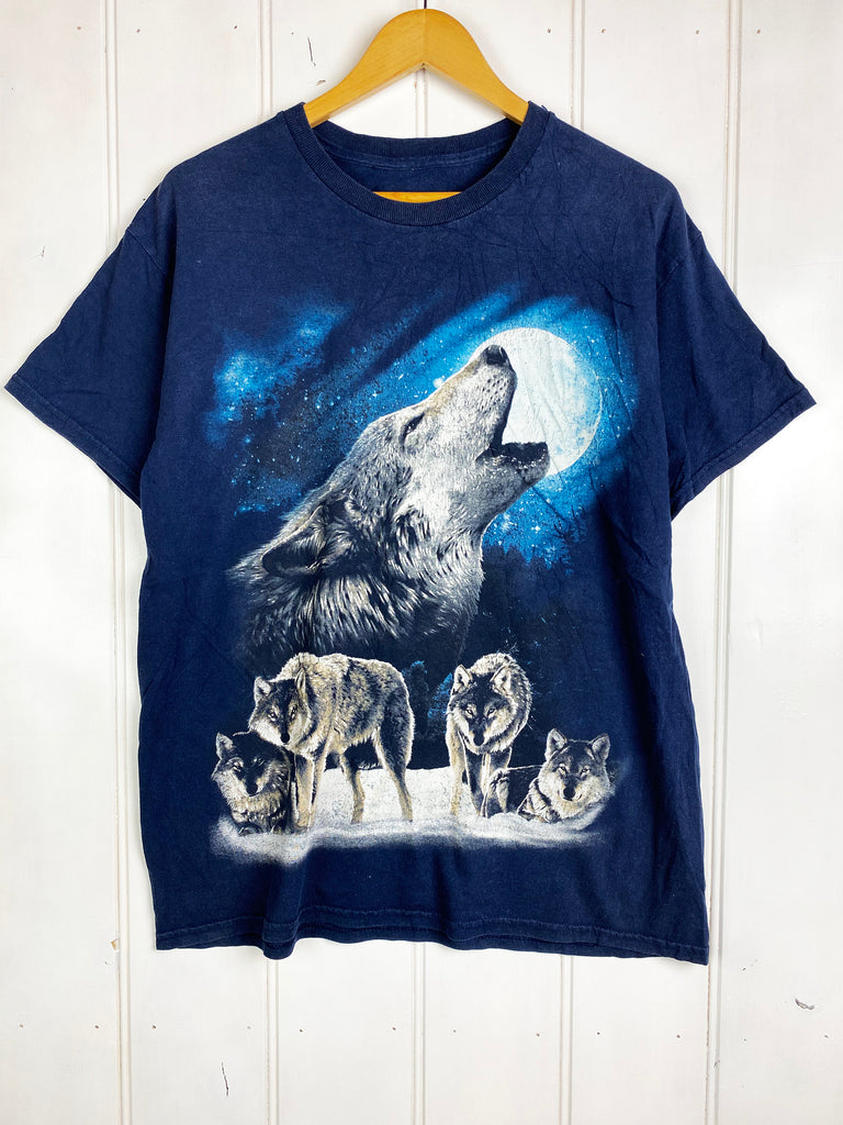 Preloved Animals - Prowling Wolf Navy Tee - Large