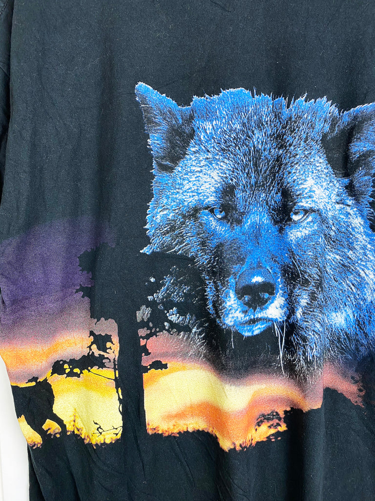 Preloved Animals - Wolf Cry Black Tee - 2XLarge