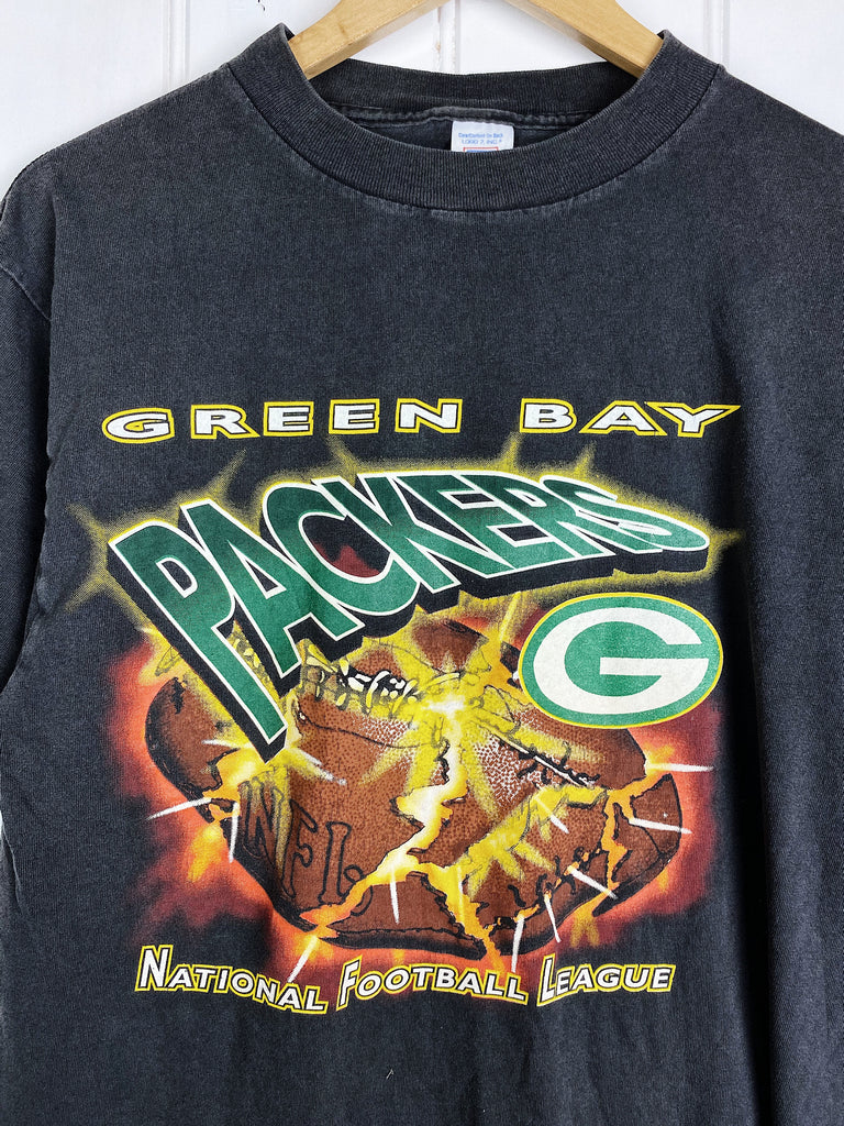 Vintage Sports - Packers NFL Black Tee - Medium