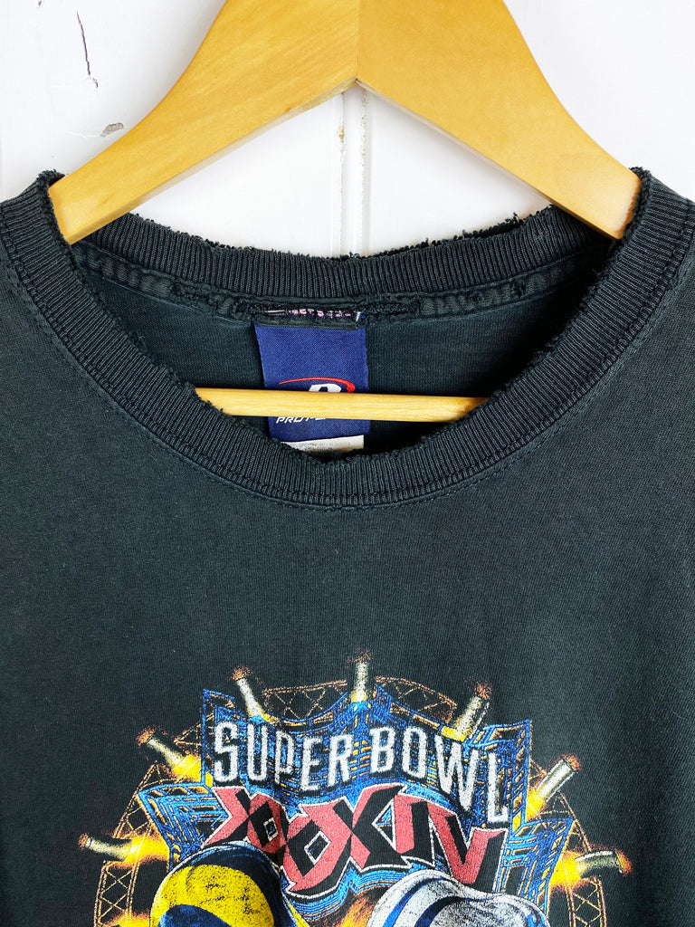 Vintage Sports - 2000 Super Bowl Faded Black Tee - XLarge