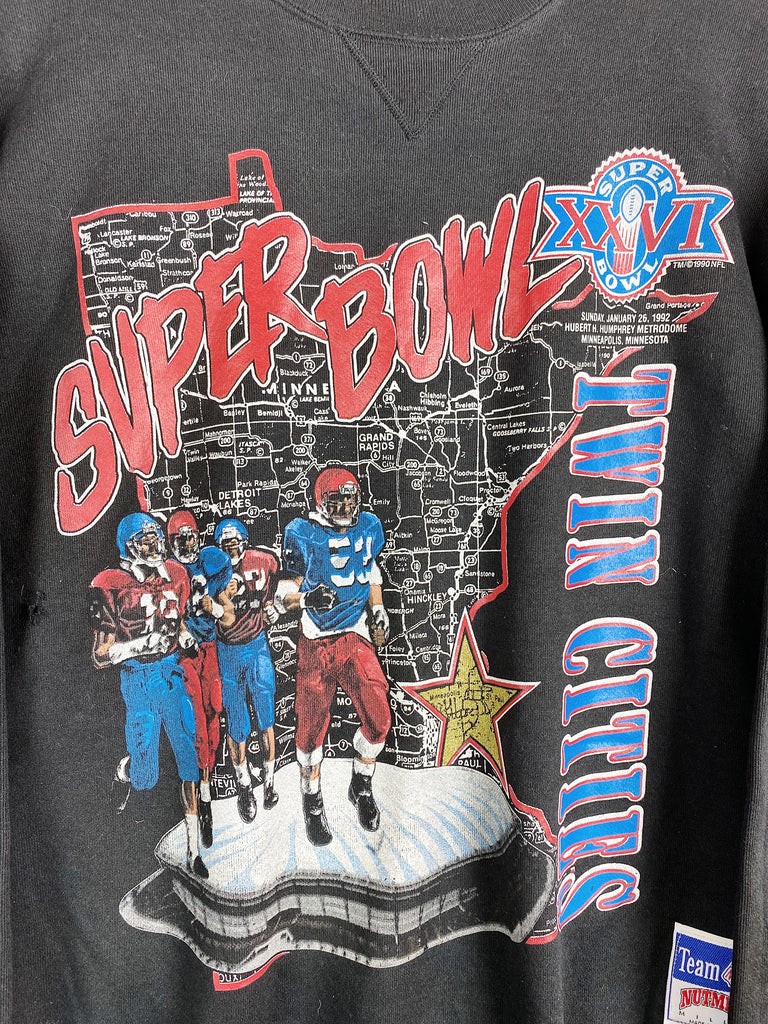 Vintage Sports - Super Bowl 1992 Twin Cities Black Sweatshirt - Large