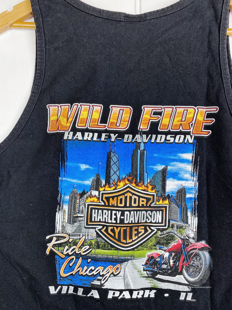 Preloved Harley - Wild Fire Black Singlet - Medium