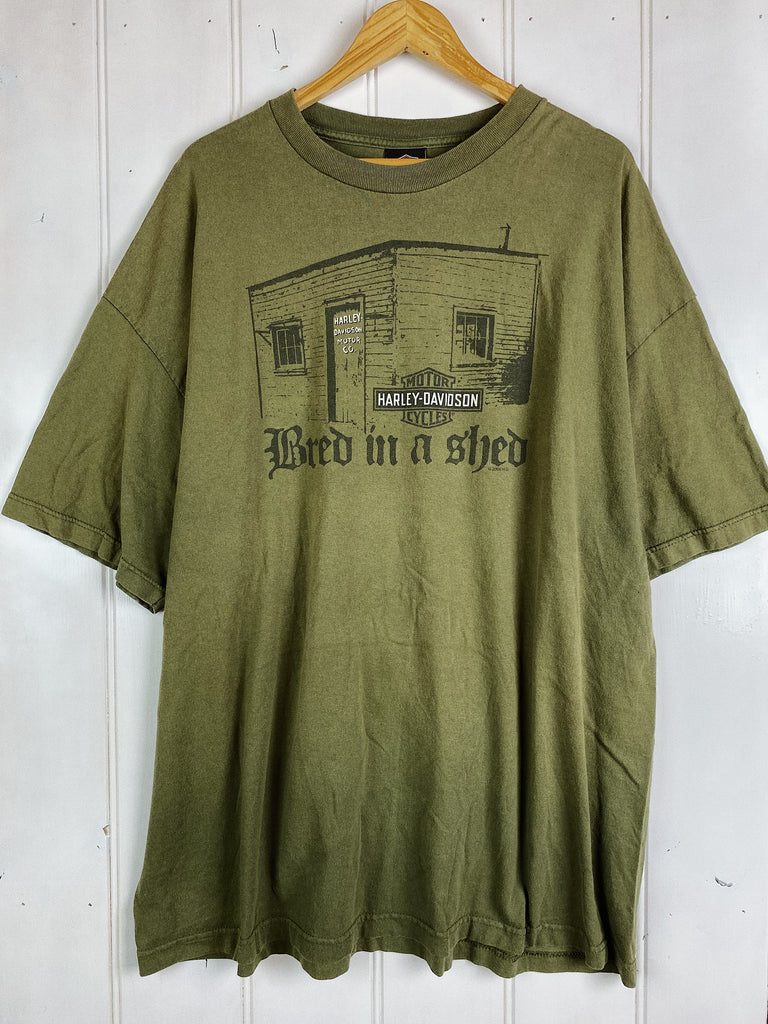 Preloved Harley - Bred In A Shed Green Tee - 3XLarge