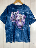 Preloved Animals -Rainforest Snow leopards blue Tie Dye Tee - 2XLarge