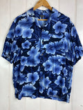 Vintage Party Shirt - Blue Flower Shirt - Large