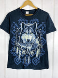 Preloved Animals - Tribal Wolf Black  Tee - Small