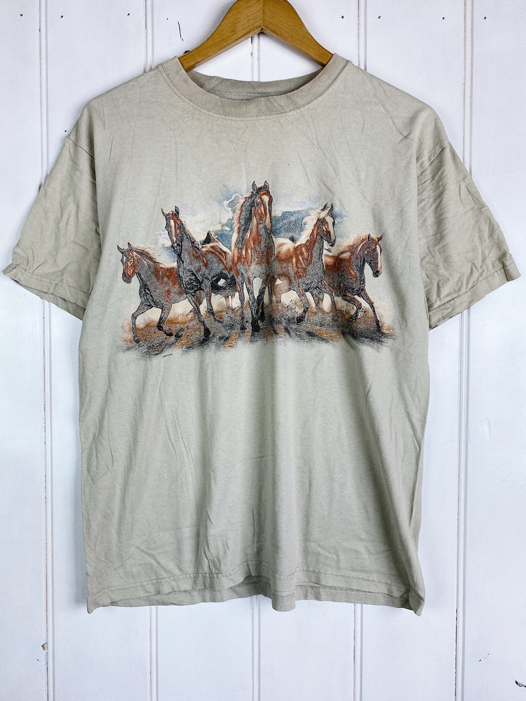 Preloved Animals - Horse Stampede Offwhite Tee - Medium