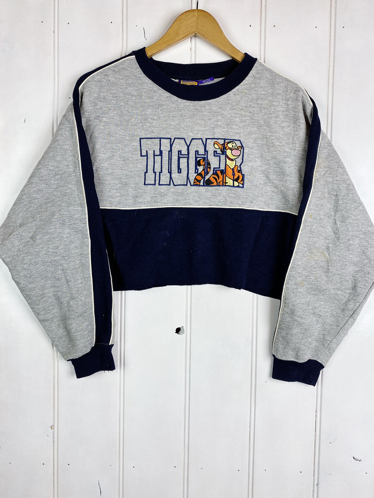 Preloved Cartoon - Pooh Tigger Grey Cropped Sweatshirt - Medium