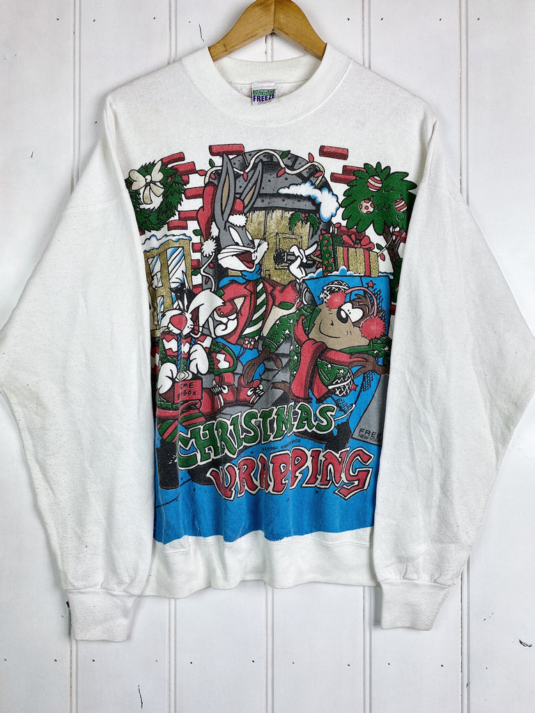 Vintage Cartoon - Christmas Wrapping White Sweatshirt - XLarge