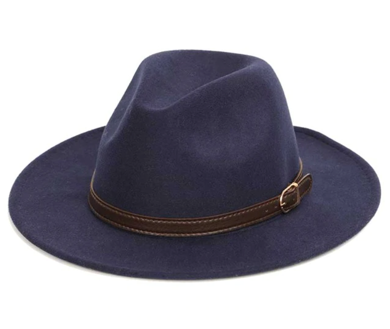 Felt Hat with 1cm Band - Navy