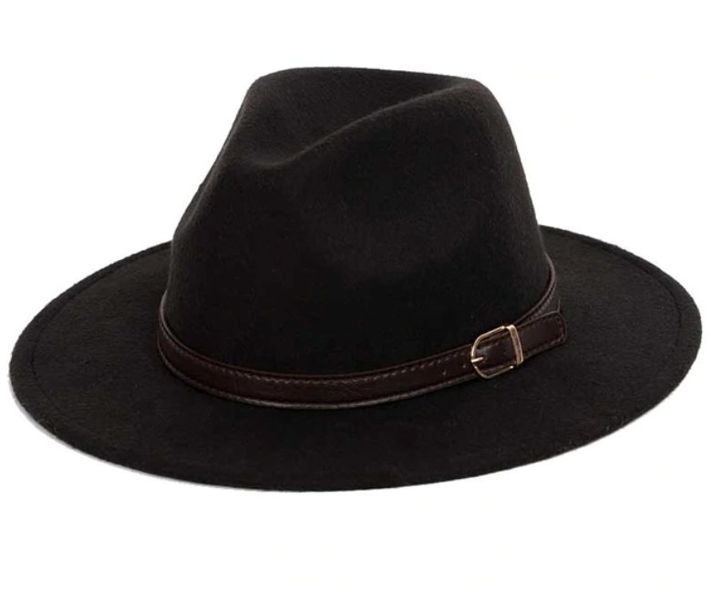 Felt Hat with 1cm Band - Black