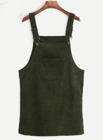 Corduroy Pinafore Dress - Army Green