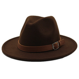Felt Hat with Band - Brown