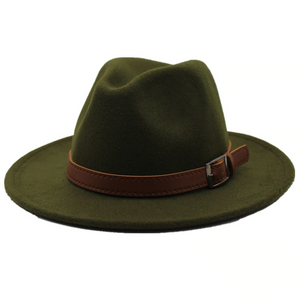 Felt Hat with Band - Green