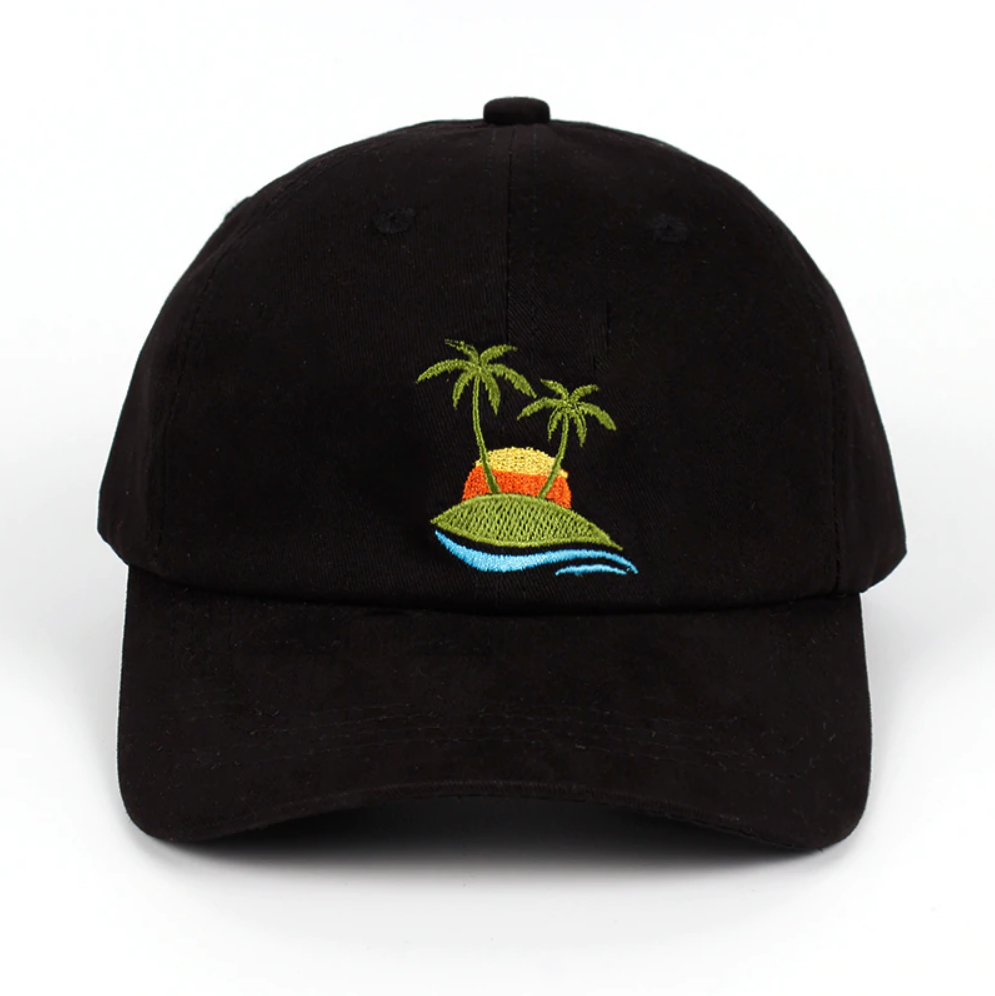 Palm Tree Dad Hat - Black