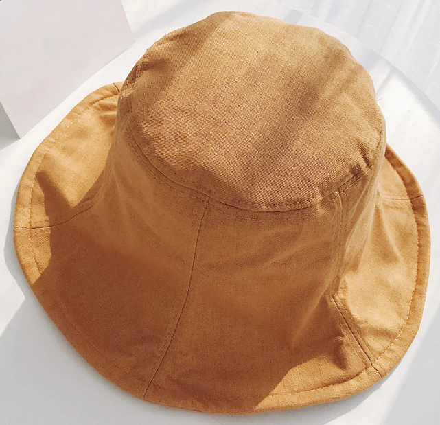 Linen Blend Bucket Hat - Rust