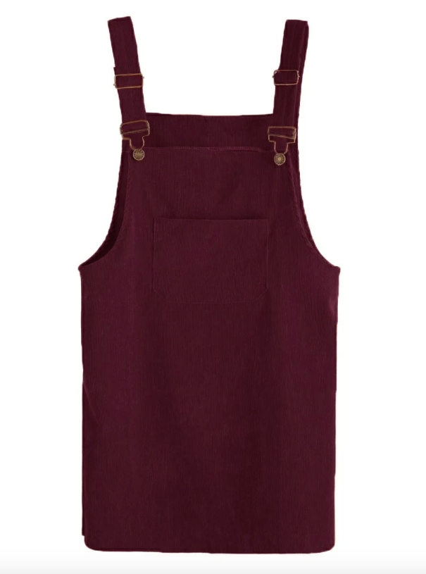 Corduroy Pinafore Dress - Burgundy
