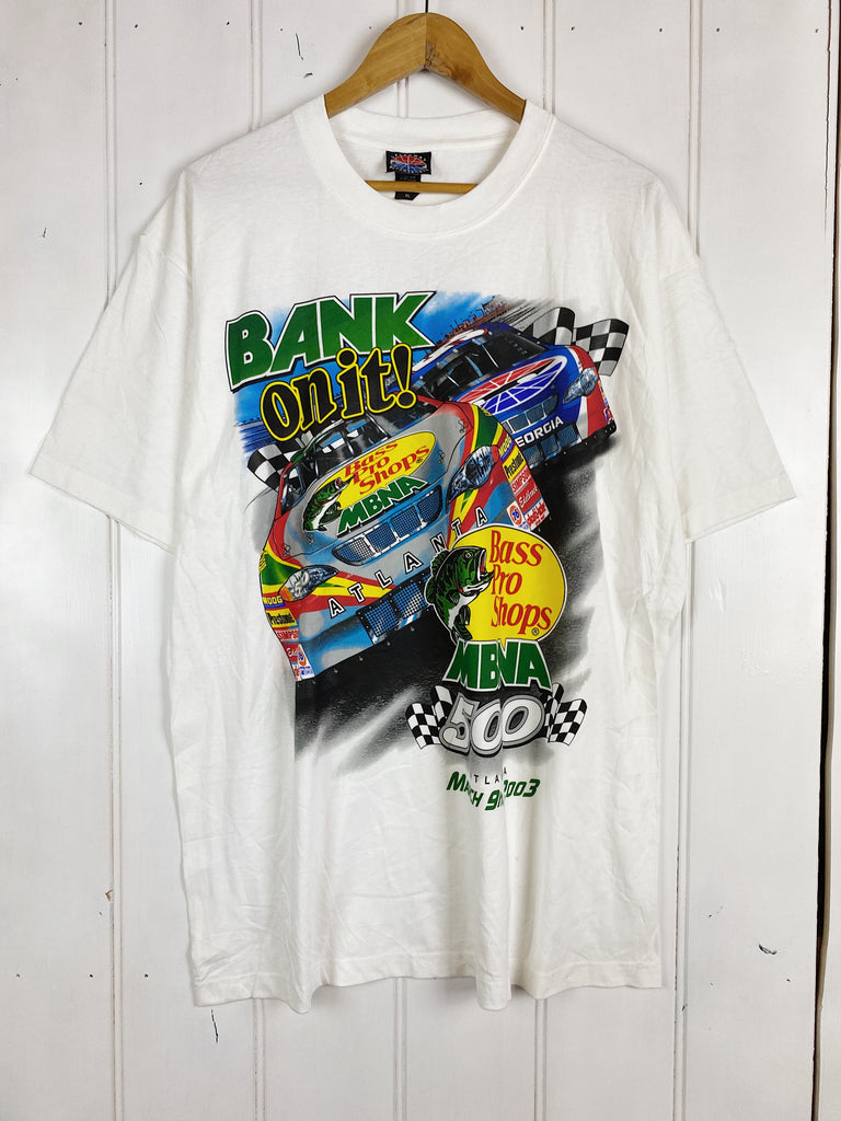 Vintage Nascar - Deadstock Bank On It White Tee - XLarge