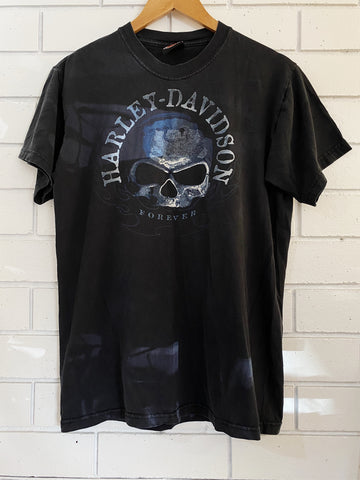 Vintage Harley Elkridge Skull Black T-Shirt - Medium