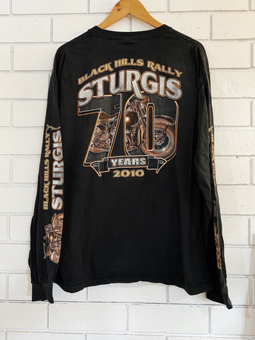 Preloved Harley 70 Years Sturgis Black Longsleeve T-Shirt - XLarge
