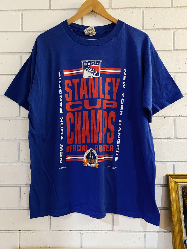 Vintage Sports - New York Rangers 1994 Cup Champs Blue Tee - XLarge
