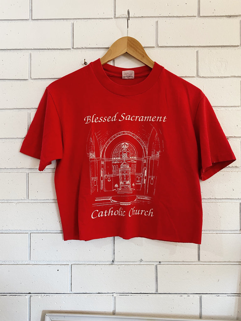 Vintage Single Stitch - Blessed Sacrament Red Cropped Tee -Medium
