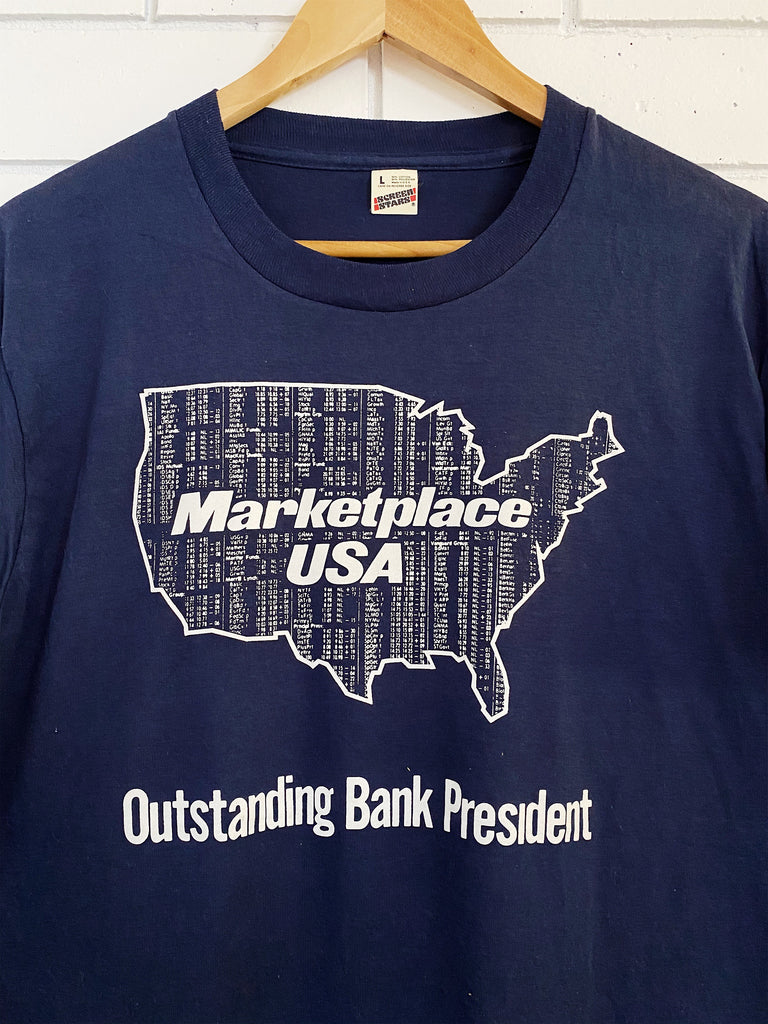 Vintage 50/50 Marketplace USA Navy Tee - Large