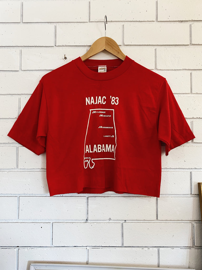 Vintage 50/50 - NAJAC '83 Red Cropped Tee - Medium
