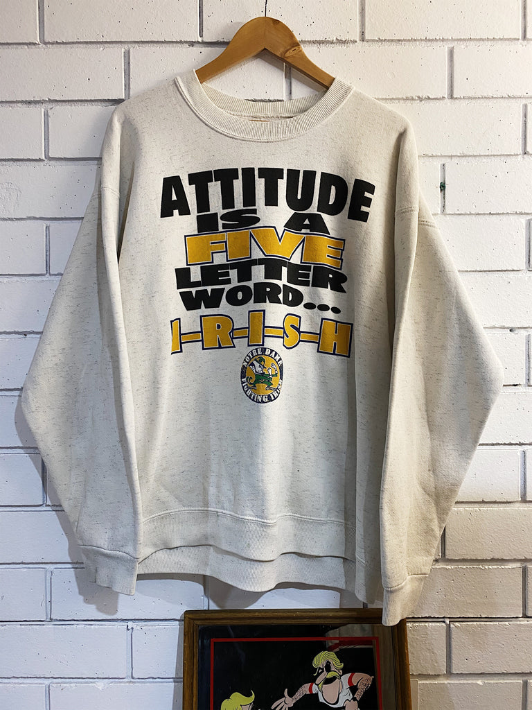 Vintage Sports - Fighting Irish Attitude Grey Sweatshirt - Large