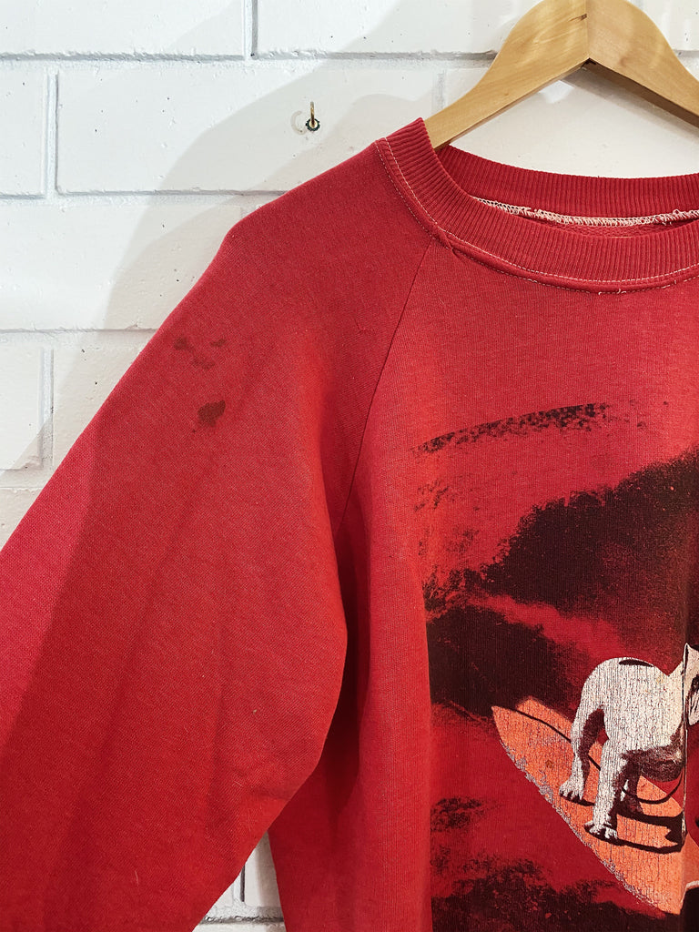 Vintage Surf - Dog On It 80s Red Sweatshirt - Small