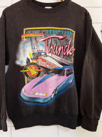 Vintage Nascar - Feel the Thunder Faded Black Sweatshirt - Small