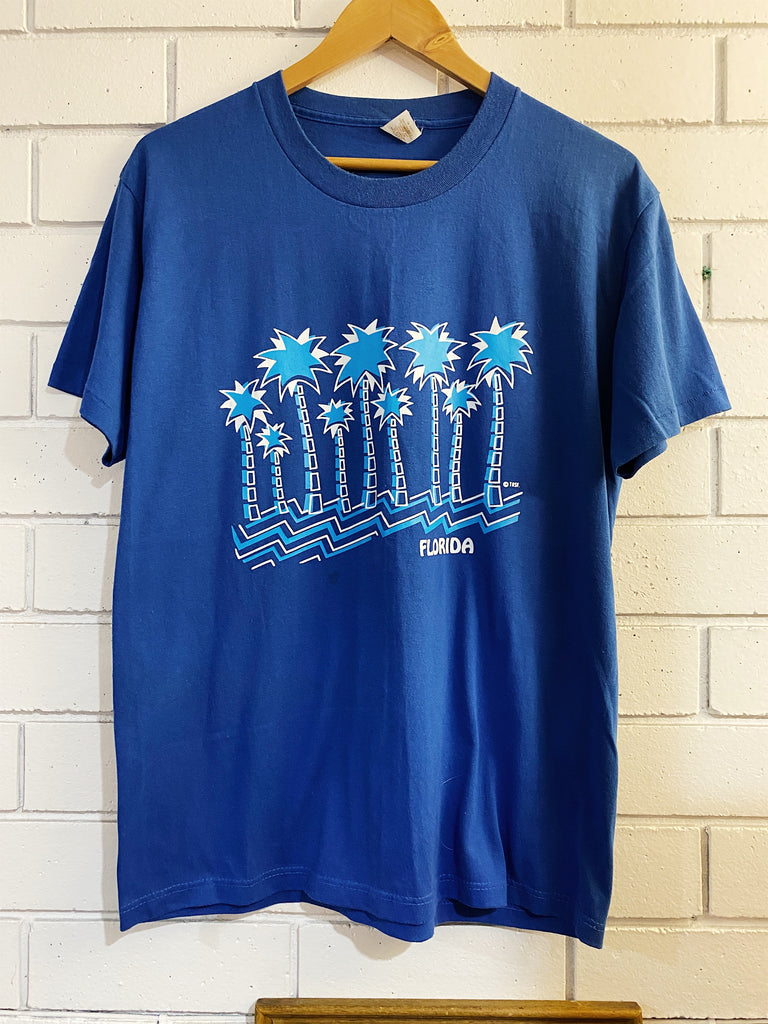 Vintage Tourist - Florida Palm Blue Tee- Large