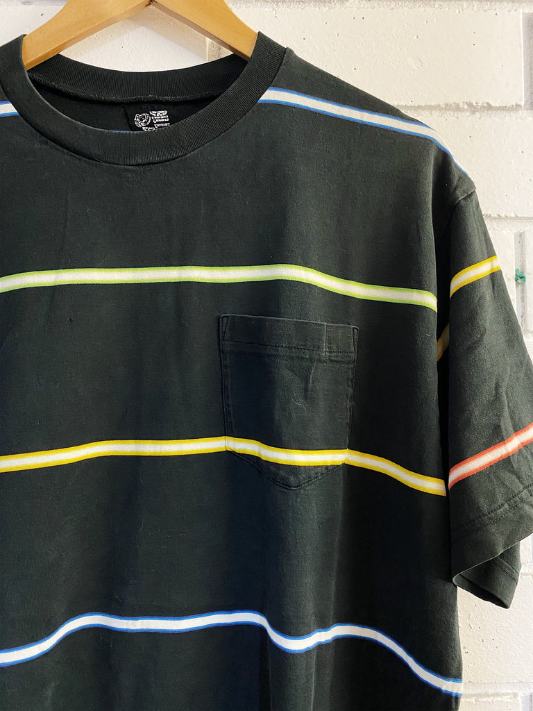 Vintage Surf - Neon Stripped Black Tee - Large