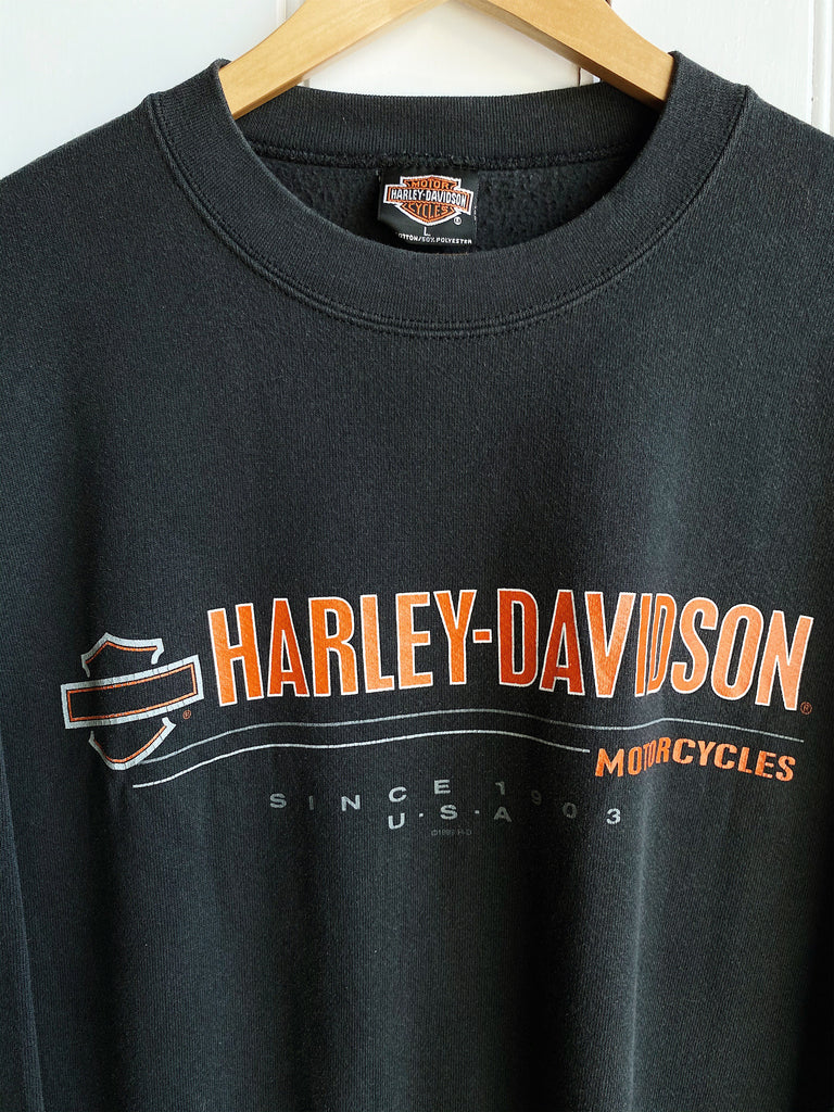Vintage Harley - F & S Dayton Faded Black Sweatshirt - Large