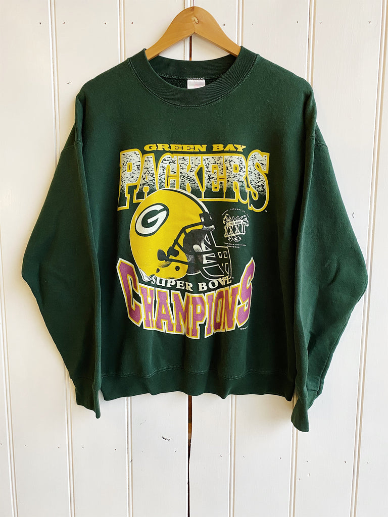 Vintage Sports - FOTL Packers 96 Superbowl Green Sweatshirt - Large