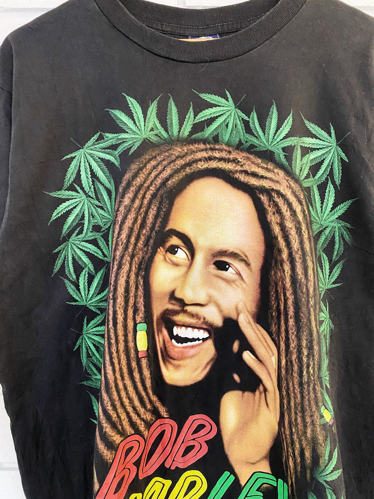 Vintage Music - Royal Bob Marley Faded Black Tee - Large