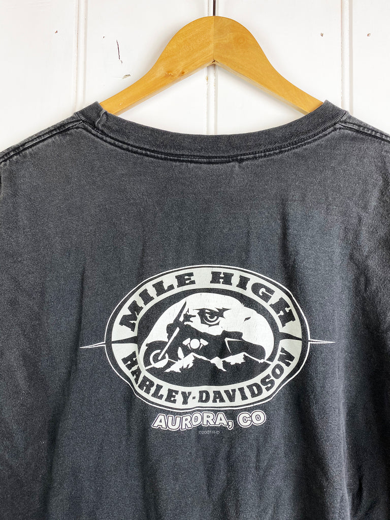 Vintage Harley - Mile High Black Tee - XLarge