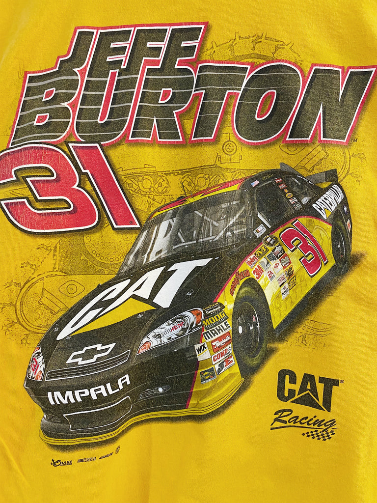 Vintage Nascar - Cat Jeff Burton Yellow Tee - Medium