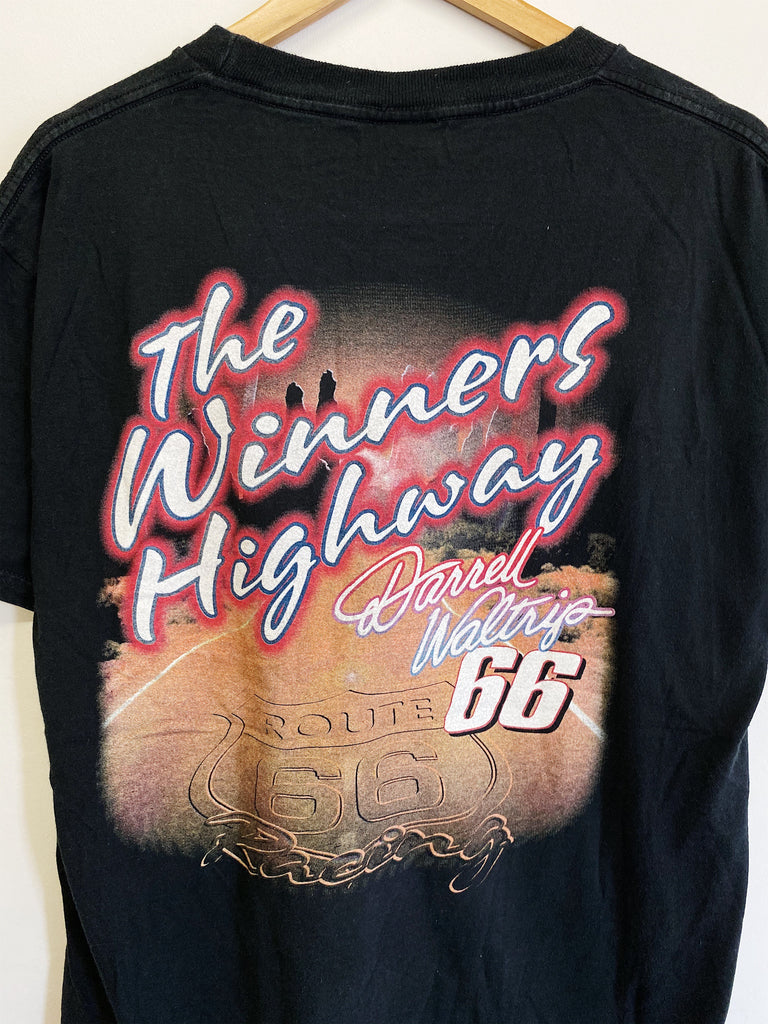Vintage Nascar - Route 66 Waltrip Black Tee - Large