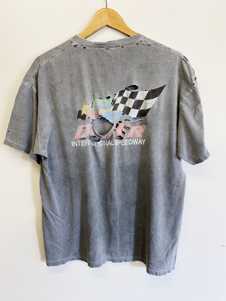 Vintage Nascar - Dover Speedway Trashed Faded Black Pocket Tee - Large