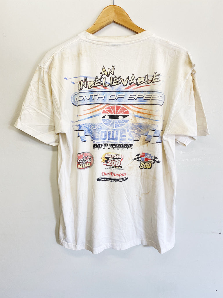 Vintage Nascar - 2003 Month of Speed Trashed White Tee - Medium