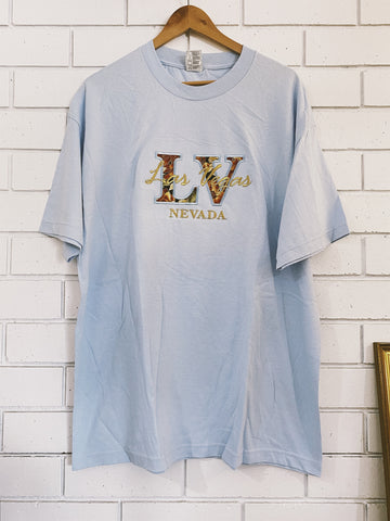 Vintage Blue Las Vegas Tourist T-Shirt - X-Large