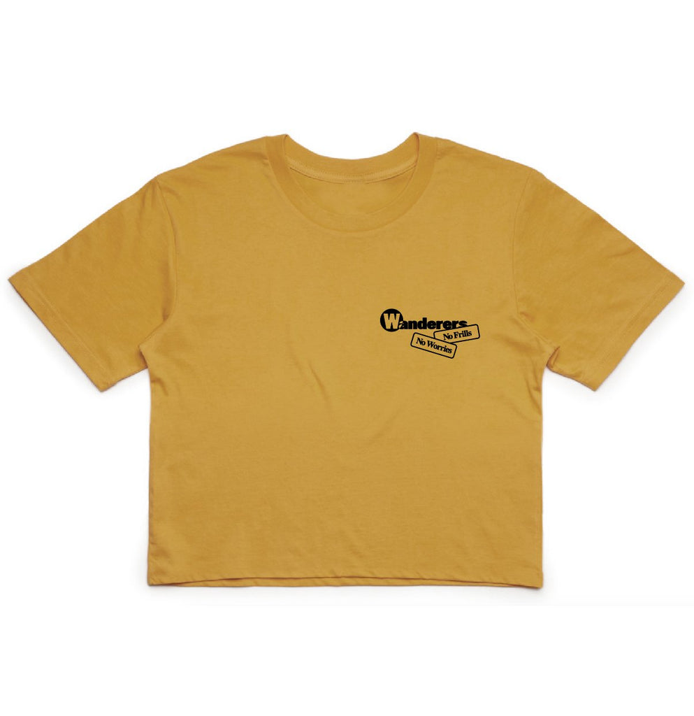 No Frills Frilled-Neck Lizard Crop - Mustard