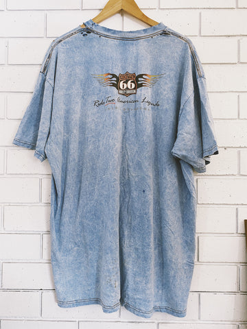 Vintage Harley Route 66 Blue Acid Wash T-Shirt - 2XL