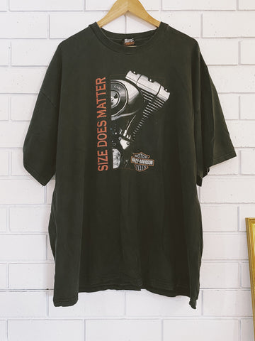 Vintage Harley Size Does Matter Black T-Shirt - 3XL