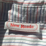 Vintage New Roads Australia Mens Casual Shirt XL Cotton Blue Green Red Stripes
