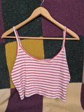 Preloved Summer Crop Top Striped Singlet - Small